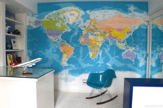 Giấy dán tường in hình bản đồ