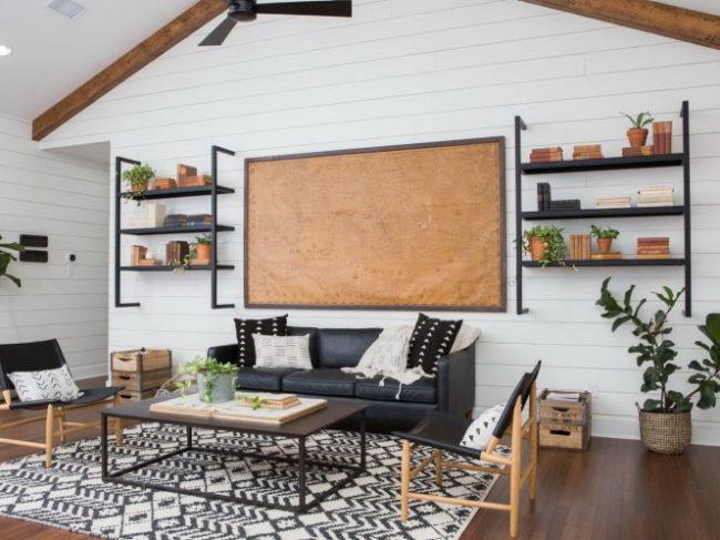 Sử dụng gỗ ép tông màu trắng cho phòng khách