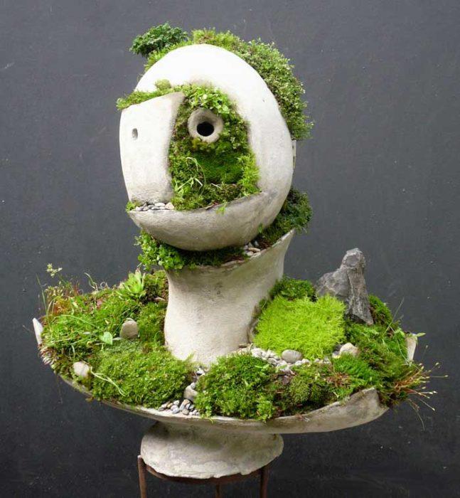 Sự phát triển của cây cỏ mọc ra từ các vết nứt của bức tượng