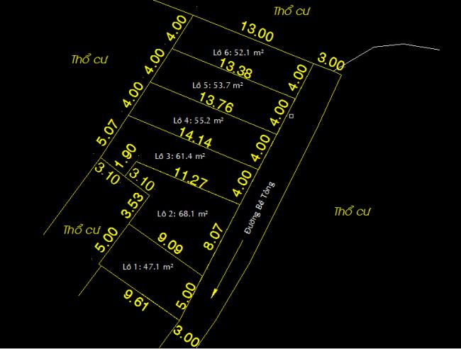 Sơ đồ vị trí và diện tích của từng lô