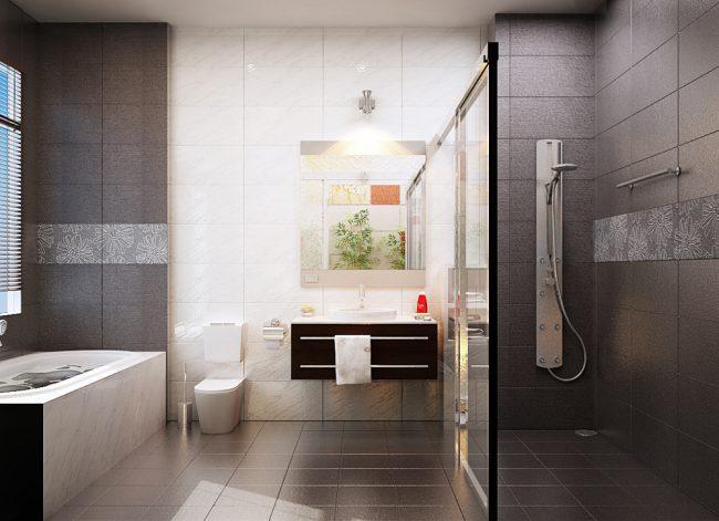 Bố trí nhà vệ sinh ngăn nắp, sạch sẽ